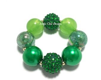 Toddler or Girls St Patricks Day Chunky Bracelet - Shades of Green Chunky Bracelet - Fairy Green Bracelet - Lime Green Chunky Bracelet