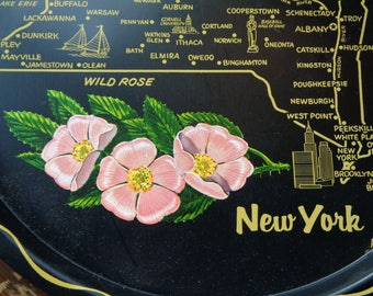 I LOVE NEW YORK!   Vintage New York State Souvenir Black Enamel Serving Tray which is both decorative and functional in Very Good Condition