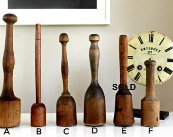 antique primitive wooden hand mashers, farmhouse decor, urban loft decor, country decor, vintage wooden mashers, instant collection