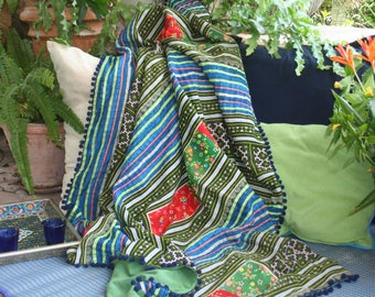 Boho Throw Blanket, Picnic Blanket, Sofa Throw, Green Hmong Embroidered With Pom Pom Trim, Bohemian Decor, Free Worldwide Shipping