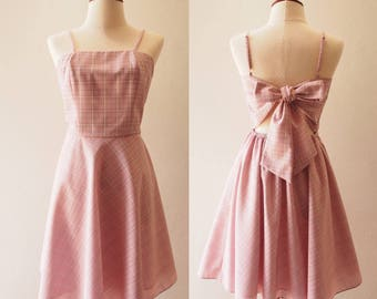 The Bow Dress Pink Plaid dress BFF with Wings Dusty Pink Gingham Dress Low Back Party Dress Street Style Long Knee Length Dress Summer Dress