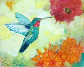 """Small Abstract Floral, Hummingbird Painting, Cheerful Art """"Sipping Nectar"""" 8x10"""""""