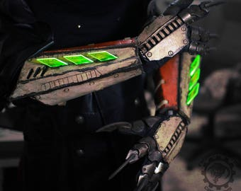 Nuclear winter plague doctor ''Vulture'' v.2 light acrylic blade cyberpunk LED gauntlets bracers/ claw gloves set - ready to ship