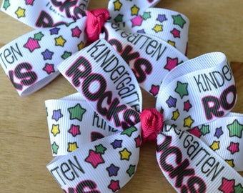 Set of Two Kindergarten Rocks Hair Bows Back to School