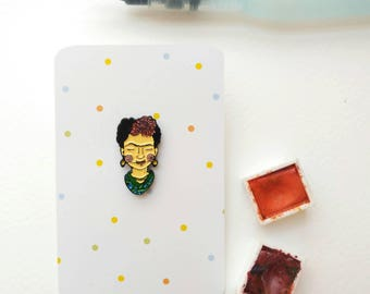 Teeny tiny Frida Kahlo soft enamel pin