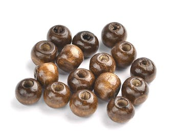 Saddle Brown Wooden Dyed Beads - 12mm Diameter, 10.5mm Thick, 3mm Hole Size