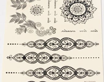 PRE-ORDER / Black Henna Style Tattoo Sheet