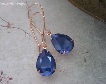Royal Blue Crystal Rose Gold Long Earrings -  created with crystals from Swarovski®