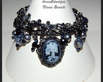 Gothic cameo charm bracelet,Halloween charm bracelet,handmade womens jewelry,collectible jewelry,skelaton jewelry,day of the dead,teen tween