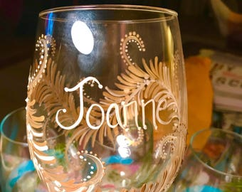 Free shipping gold design hand painted wine glass  holiday special occasions fiftieth anniversary personalizable