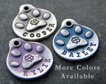 Shamrock - Dog Tag for Collar - Pet Tags - Gifts for Dog Lover - Custom Pet ID Tag - Hand Stamped Dog Tags