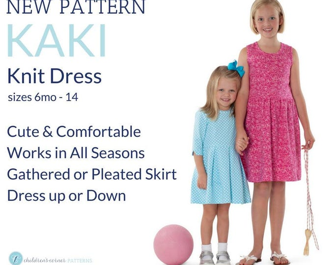Childrens Corner Pattern / Kaki Pattern  /  Knit Dress Pattern / Size 6m -14 / Pleated Skirt / Gathered Skirt / Girls's Dress Pattern / #295