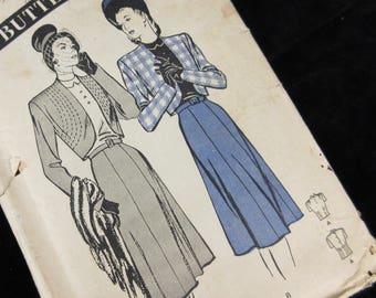 Vintage 1940s Sewing Pattern, Suit:  Skirt, Jacket, Blouse, Butterick 3744