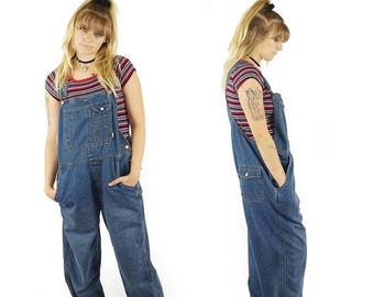ON SALE Denim 90s Baggy Overalls, 90s Grunge, Vintage Dungarees, 90s Overalls Pants, Women's Size Large