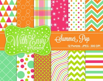 SALE  Summer Digital Scrapbook Paper - Summer Scrapbook Paper - Pink and Orange Scrapbook Paper - Green and Blue Paper - Commercial Use