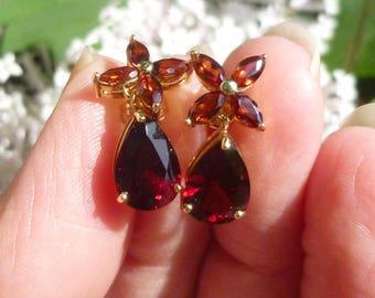 Beautiful  Garnet Earrings Total weight is just under 5 carats  Stud earrings in 14KT yellow gold
