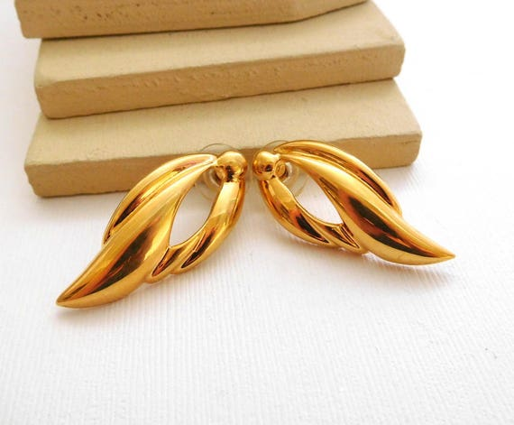 Retro Vintage Modernist Polished Yellow Gold Tone Wave Drop Earrings XX45