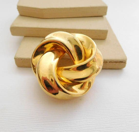 Retro Vintage Polished Gold Tone Modernist Infinity Knot Dress Clip OO10