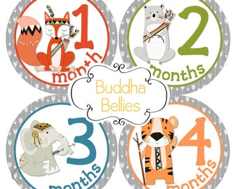 Woodland Tribal Baby Monthly Stickers / Forest Animals / Fox Deer Bear Elephant Baby Month Stickers Hunter Baby Milestone Forest Friends
