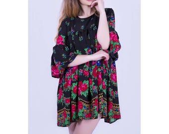SALE OOAK Folk Dress, Gypsy Dress ,Black Flower Dress, Bohemian Dress , Russian Dress , Boho dress, Woodstock Dress