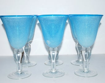 Blue glass goblets large wine glasses   vintage stemware hand blown glass rough pontil