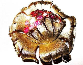 """CORO Brooch Signed Pink & Clear Rhinestones Brushed Gold Metal 2 1/4"""" Vintage"""