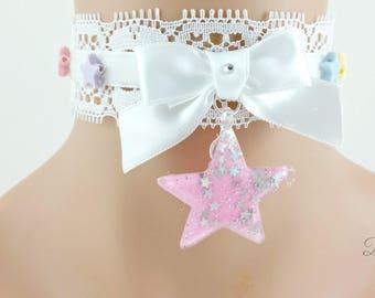 White Lace Choker-Lolita Choker-Classic Lolita-Cult Party Kei-Chokers-Kitty Choker-Collars-Harajuku-Hime-Fairy Kei-Gift For Her