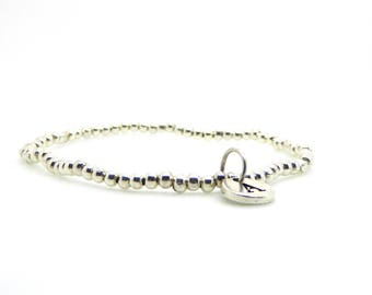 Silver Beaded Bracelet Initial Charm/Medium Size Stacking Stretch Bangle/Bridesmaids/Sister/Friend Gift//LR051B