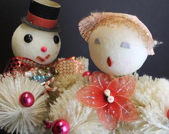Rare Vintage Frosted White Bottle Brush People // OOAK Retro Vintage Christmas