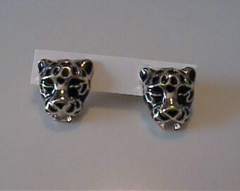 Vintage goldtone & black cheetah stud earrings
