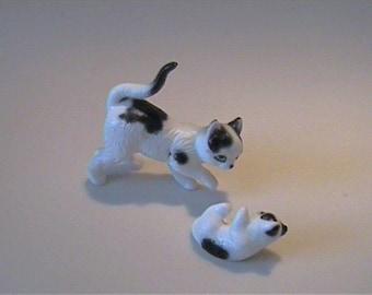 Two vintage 1960's miniature bone china black & white mama cat with kitten