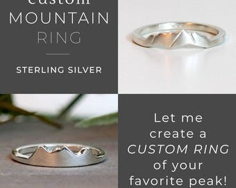 Personalized Custom Mountain Ring, Wanderlust Silver Ring, Nature Ring Gift, Minimalist Ring, Mountain Jewelry, Climbing Hiking Gift for Her