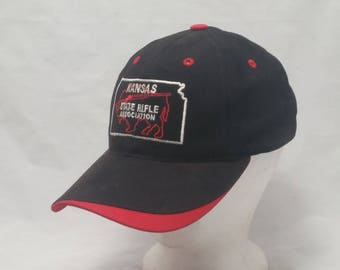 Vintage 1990s Trucker Ball Cap - Kansas State Rifle Association - NRA,  Nascar, Kansas, Rockabilly, Retro, Mens Accessories