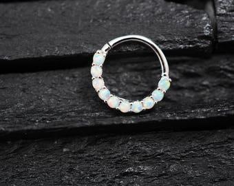 White Opal horizontal eternity hoop Daith earring / Cartilage / Septum ring / Nose ring