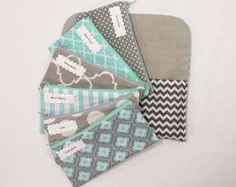 Cash Budget System, Cash Envelope Wallet, 5 to 15 Envelopes -Grey & Mint- (It can be used with the Dave Ramsey system)