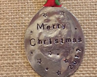 MERRY CHRISTMAS stamped CHRISTMAS ornament 2017 // Red with Green Polka Dot ribbon * one of a kind * Sale Special Priced - 2017 clearance