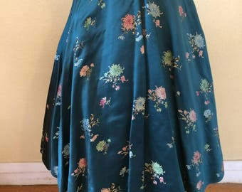 1950s flower print skirt high waist swing skirt knee length