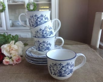Set of 4 Blue Garden Cups and Saucers Made in Japan