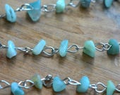 100cm Turquoise Green Rock Faceted Bead Necklace Chain 8mm Rock Bead on Silver Chain Jewelry Making Supplies (EC109)