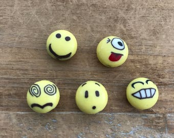 1 - Emoji Bead Charm - Round Yellow Enamel Face Charms Jewelry Supplies (AT113)