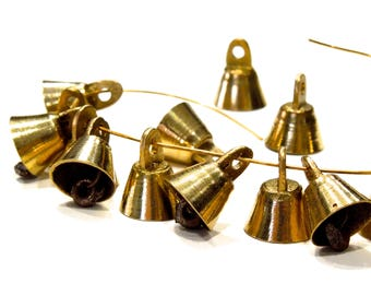 SUPPLY: 20 Small Solid Brass Bells - Decorative Bells - Small Bells - India - SKU 7-F3-00005236