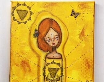 Solar Plexus Chakra Girl Art Work. Mixed media artwork. Original Art for Sale, Original Art Work, Fine Art, Original Painting, Gift Women