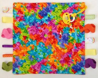 Orange minky binky blanket, minky, bright binky blankie, pacifier holder, taggie blanket, colorful color
