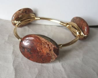 "Flame Jasper Bangle Bracelet ""Bourbon and Bowties"" Inspired"