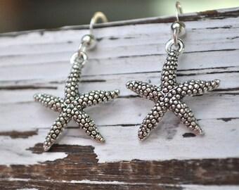 starfish sterling silver earrings, sea star earrings, starfish jewelry, starfish earrings, beachcomber earrings, dangle silver earrings