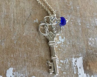 silver bronze cobalt blue Maine sea glass and key necklace, sterling silver skeleton key necklace with blue sea glass, silver blue necklace