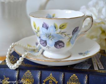 Queen Anne Vintage Teacup And Saucer Set  With Dusty Blue Flowers, Pattern 8301,  Wedding gift, Mother's Day, c. 1959-1966