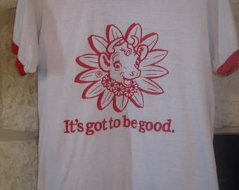 "Awesome Vintage Borden's Elsie the Cow ""It's got to be good."" t-shirt.  Red & White, Ringed sleeves.  Women's Small size."
