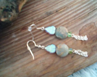 Jasper--Aqua Terra Jasper Earrings, Earthy, Boho, Nature Colors, Nature Theme, Uniques, Aqua Blue and Tan, Pierced Dangle, Artisan Handmade