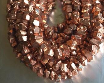 Copper Finished Pyrite Irregular Nuggets Center Drilled,